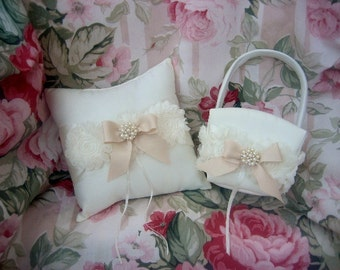 Flower Girl Basket Wedding Ring Pillow Flower Girl Basket Set Vintage Ivory and Cream Custom Colors too