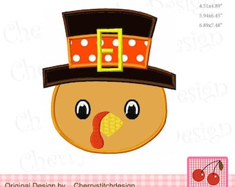 Thanksgiving Pilgrim Hat Turkey Machine Embroidery Applique Design TH0050 - for 4x4,5x7 and 6x10 hoop