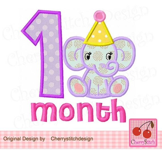Happy 1 Month Old Baby Girl Quotes: Baby 1 Month For GirlsBirthday Number 1Baby Elephant New