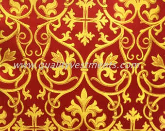 Church Liturgical Ecclesiastical Vestment Metallic Brocade Red Gold