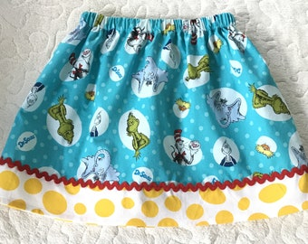 Aqua Skirt made with authorized Robert Kaufman   Suess Characters (18 mos, 24 mos,  2T, 3T, 4T, 5, 6, 7, 8, 10)
