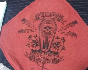 Skull Microphone Mechanic Shop Rag from Von Erickson Laboratories