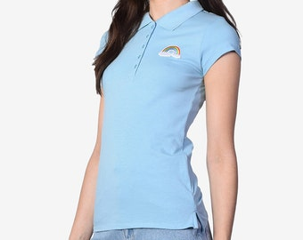 FLASH SALE **** ECH Rainbow Embroidered Patch Polo ~ Baby Blue