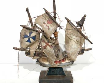 Vintage Model Hanseatic League Sailing Ship - Made in Japan