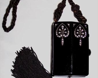 Chic CELLULOID 1920s Vintage VANITY Compact Purse ~Deco BAKELITE Flapper Bag ~Rhinestones & Marcasites + Tassel ~Nouveau Spades Design
