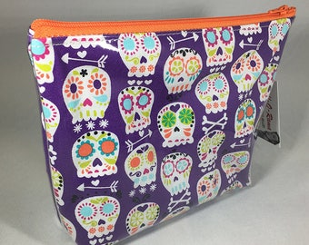 Make Up Bag - Day of the Dead Sugar Skulls (Purple) Zipper Pouch