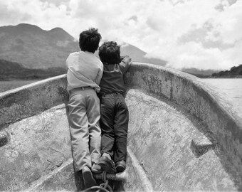 Brotherhood, Innocence, Wall Art, Boat, Guatemala,  Black and White Fine Art Photography,16x24