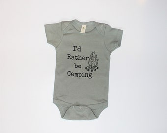 0-3 Month -   I'd Rather be Camping Kids ORGANIC in SAGE, Baby and Kids Tees, Camping, Camp Fire bodysuit