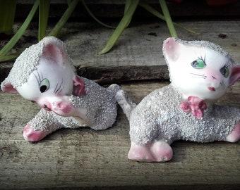 Vintage 50's Mid Century Playful ceramic pink and grey sugar cat figurines