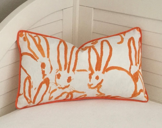 Groundworks Hutch Print Bunny Designer Pillow Cover, Choice of Piping Colors, Square,Lumbar and Euro Covers