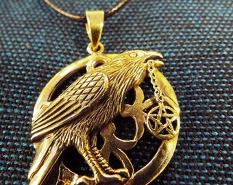 Raven Pendant Crow Pentagram Handmade Bronze Pendant Jewelry
