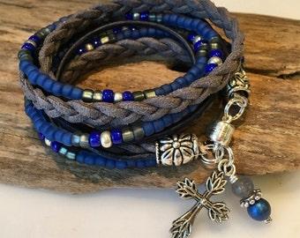 Beaded Wrap Bracelet, Boho Wrap Bracelet, Blue, Grey, Silver, Custom. suede Leather, Triple Wrap, Charm,OM, Christian, personalized