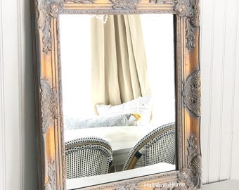 Vanity Bathroom Mirror, Gray and Gold Hanging Mirror, Vanity Bathroom Mirror, Farmhouse Mirror Bathroom