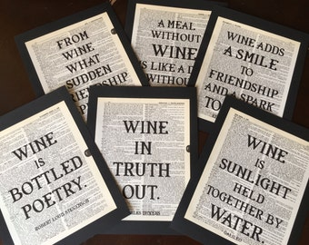 Wine Tasting Party Decorations Literary Wine Quotes Dictionary Print Quote Wine Lovers Bar Quotes Cocktail Party Alcohol Decor Set of  6