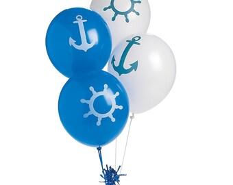 Set Of 4 Sailing - Nautical - Premium Latex Balloons - Sailboats - Ocean - Birthdays - Baby Showers & Summer Events!