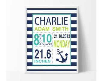 Navy Blue Nursery Birth Stats Personalized Baby Name with Anchor for Baby Boys Bedroom Decor - H1029 - Unframed