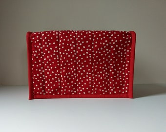 Red and White Toaster Dust Cover - Two Slice Toaster Dust Cover - Red Quilted Toaster Cover - Handmade Cover for a Two Slice Toaster