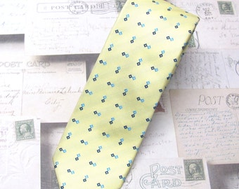 Mens Ties Yellow and Blue Square Skinny Necktie