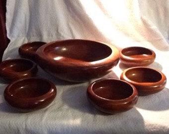 Vintage Wood Salad Bowl Set Of 6. Rustic Teak Salad Bowl set. made In Thailand. Large Serving Bowl set.