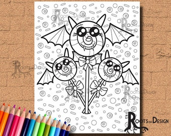 INSTANT DOWNLOAD Lollypop Bats Coloring Page Print, doodle art, printable