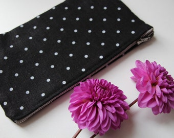 Black Linen Cosmetic Bag with White Polka Dots - Cosmetic Storage with Metal Zipper