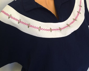 80's Vintage short sleeve navy blue blouse