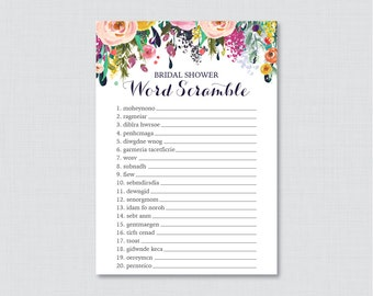 Floral Bridal Shower Word Scramble - Printable Colorful Flower Bridal Shower Game - Shabby Chic Garden Bridal Shower Word Scramble 0002-B