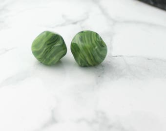 Large Green Grass Nugget Lampwork Beads