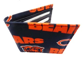 Chicago bears etsy bi fold men wallet with nfl chicago bears pattern cotton fabric voltagebd Images