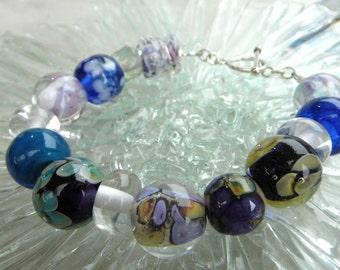 Orphan Lampwork Bracelet, Hand Made glass Bracelet, Beaded Bracelet  SRAJD, FHF Y3