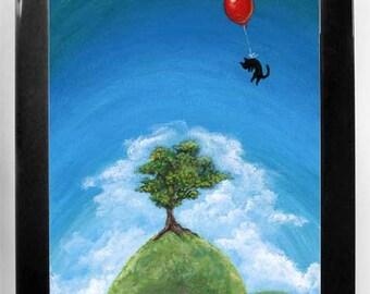 Black Cat Print, Red Balloon Art, Tree Hill, Pet Owner Gift, Nursery Decor, Large Wall Art, ACEO Print, Blue Sky, Custom Size, Cat Lover