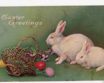 Vintage Easter Greetings Postcard, 2 White Easter Bunny Rabbits  Easter post card, Easter basket, Easter eggs worn but wonderful