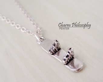 Snowboard Necklace - Silver Pewter Jewelry - Snowboarding Gifts