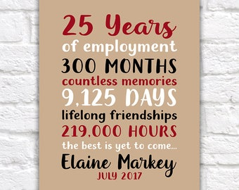 Personalized Retirement Gift, Employee Thank You Appreciation Gifts, Retiring Gift, Gift for Coworker, Teamwork, Years of Employment   WF591
