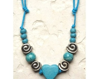 Turquoise Ceramic Heart Necklace gift for her Fashion colorful modern chic blue trends