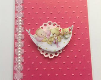 BAPTISM, New BABY Girl, CHRISTENING. Baby Shower, Handmade Card