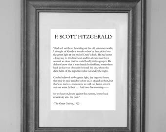 The Great Gatsby Quote Print / F Scott Fitzgerald / Inspirational Quote / Wall Art Decor / INSTANT DOWNLOAD