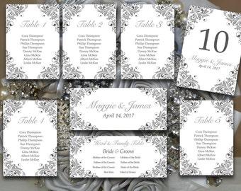 "Printable Wedding Seating Chart Template - Wedding Reception - Silver Flourish ""Maggie"" Charcoal Gray Wedding Seating - Wedding Table Number"