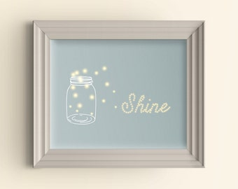 Firefly art, Mason jar decor, Mason jar and firefly, Shine bright, Summer art print, Summertime sign, Baby shower gift, Housewarming gift