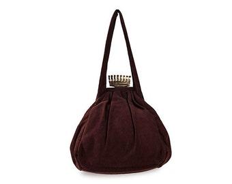 Brown Handbag, Pouch Handbag by Princess, Gold Crown Clasp, Vintage 1940s, Brown Purse, Fabric Handbag