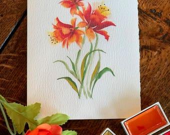 Watercolor handmade card. Can be used for a birthday or  Thank You.