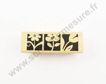 3 flowers - 1 PCs x - wood stamp