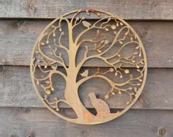 Cat And Bird In Tree Wall Hanging Art / Rusty Metal Wall Art / Motheru0027s Day  Garden Decor / Cat Lover Gift / Cat Metal Art /Garden Wall Decor
