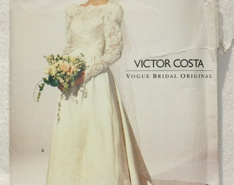 Size  12 14 16 Vintage Vogue Bridal Original Sewing Pattern 2618  Victor Costa 1991 Uncut with Bridal Guide