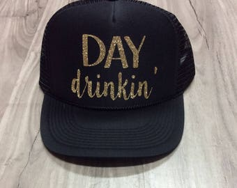 Day Drinkin' Trucker Hat Brunch River Lake Summer Trucker Hat Women's Trucker Hat Glitter Drinking Alcohol Party Hat