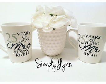 Anniversary coffee mug gift set, Mr Right, Mrs Always Right, anniversary mugs, custom anniversary mugs