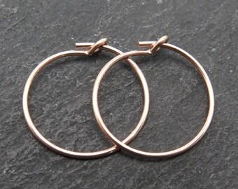 Rose Gold Filled Beading Hoop 15mm ~ PAIR