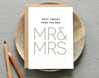Printable Wedding Thank You Folded Card PDF / 'Modern Minimal' Mr and Mrs Personalised Card / Grey / Digital File / Printing Also Available