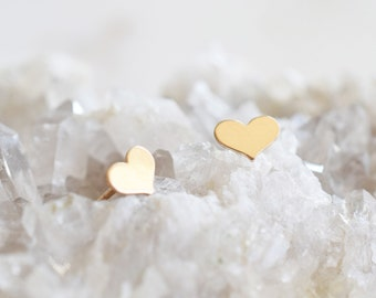 Small Heart Stud Earrings; 14k Gold Filled; heart jewelry;Handmade Jewelry;Dainty Jewelry;Dainty earrings; valentines gift; gift for her
