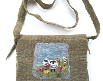 Felted Wool Sheep Purse, Shoulder Bag, Wildflowers, Painting, Green